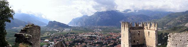 Castle panorama. Arco castle ruins in Italy stock photography