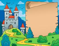 Castle and parchment theme image Royalty Free Stock Images