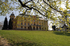 Castle in the park. Castle seen through the branches Royalty Free Stock Image