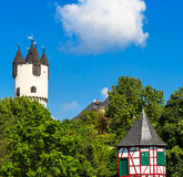 Castle Park with Donjon tower and Customs Tower in Hanau-Steinheim, Germany Stock Photo