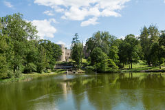Castle park and lake Royalty Free Stock Images