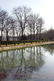 Castle park and pond in Saint-Cloud - France Royalty Free Stock Photography