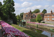 Castle park and river  in Canterbury, England. The royal garden of canterbury, Kent england Royalty Free Stock Photography