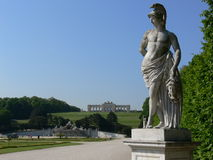 Castle park vienna. Castle park of the vienna castle with a greek statue in front stock images