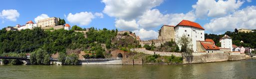 Castle of Passau. Panoramic view from a lookout above the Danube river on a nice summer day looking at the gothic Castle of Passau in Bavaria, Germany royalty free stock photo