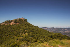 Castle on the peak of the Tagamanent mountain Stock Images