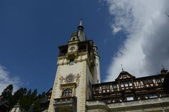 Castle Peles. Bottom up,Peles castle in Sinaia city Romania Royalty Free Stock Image