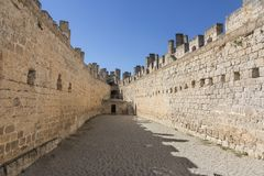 Castle of Penafiel. Moat of the castle of Penafiel in Valladolid Royalty Free Stock Photo