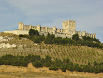Castle Penafiel, Spain. View of Penafiel Castle, seen from its base Royalty Free Stock Photography