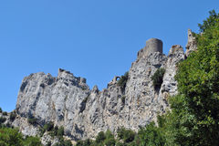 Castle of Peyrepertuse. The Cathar's castle of Peyrepertuse in France royalty free stock photos
