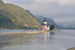 Castle Pfalzgrafenstein in river Rhine. Lorchhausen, Germany - September 17, 2016 - Beautiful castle Pfalzgrafenstein near Kaub in river Rhine during sunrise royalty free stock photos