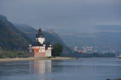 Castle Pfalzgrafenstein in river Rhine Stock Photos