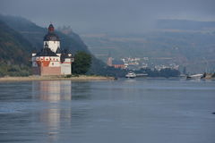 Castle Pfalzgrafenstein in river Rhine. Lorchhausen, Germany - September 17, 2016 - Beautiful castle Pfalzgrafenstein near Kaub in river Rhine during sunrise stock photography