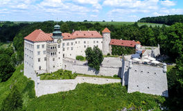 Castle Pieskowa Skala near Krakow, Poland. Historic castle Zamek Pieskowa Skala near Krakow in Poland. Aerial view Royalty Free Stock Images