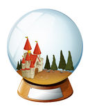 A castle with pine trees inside a dome Royalty Free Stock Photography