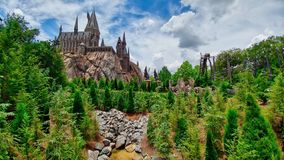 Castle pine trees roller coaster stones mountain royalty free stock images