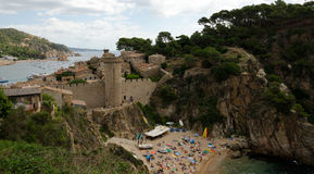 Castle between Platja Gran and Platja d�es Codolar Stock Photos