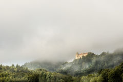 Castle Podčetrtek. Surrounded by morning mist, located in Slovenia Royalty Free Stock Photography