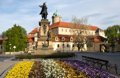 Castle Podebrady with statue, Czech Republic. Castle Podebrady  with the statue of King George from the Poděbrad, Central Bohemia, Czech republic Royalty Free Stock Photography