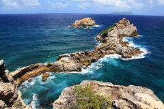 Castle Point in Guadeloupe. View to the Pointe des Chateaux (Castle Point) in Guadeloupe, French overseas stock images