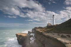 Castle point lighthouse. The lighthouse at castle point, new zealand north island stock photo