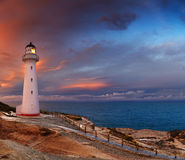 Castle Point Lighthouse, New Zealand. Castle Point Lighthouse, sunset, Wairarapa, New Zealand stock photo