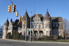 A Castle Police Precinct in Detroit, Michigan. A picture an old police precinct in Detroit Michigan which resembles an old Medieval/ Renaissance Castle with a Royalty Free Stock Image