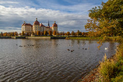 Castle with Pond in Autumn - Moritzburg, Germany Stock Images