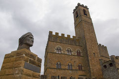 The castle of poppi and the statue of Dante Stock Images