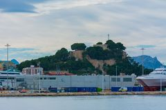 Castle and port of Denia stock photography