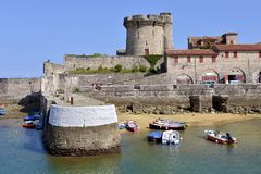Castle and port of Socoa at Cibourre in France Stock Photography