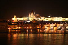 Castle of Prag (Prague) Night. The view from Charle's Bridge Stock Photos