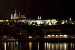 Castle of Prague. Night view of the famous castle Hradčany in Prague Royalty Free Stock Photography