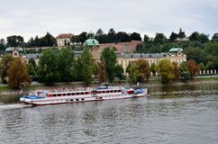 Cruise boat near the city of Prague Royalty Free Stock Image
