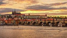 Castle of Prague (Czech Republic), Charles (Karluv) Bridge and Vltava River Stock Photos