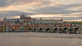 Castle of Prague (Czech Republic), Charles (Karluv) Bridge and Vltava River Royalty Free Stock Photos