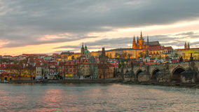 Castle of Prague (Czech Republic), Charles (Karluv) Bridge and Vltava River Stock Photography