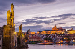 Castle of Prague (Czech Republic), Charles (Karluv) Bridge and Vltava River Stock Photo