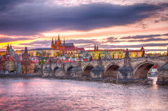 Castle of Prague (Czech Republic), Charles (Karluv) Bridge and Vltava River Royalty Free Stock Photography
