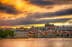 Castle of Prague (Czech Republic), Charles (Karluv) Bridge and Vltava River Stock Photo