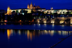 The castle of Prague in the night Stock Images