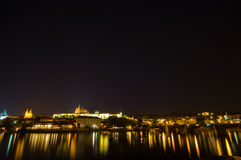 Castle of Prague at night Stock Images
