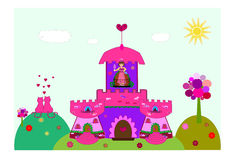 Castle with a princess  Stock Image