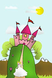 Castle with princess and her magic wand Stock Image