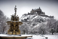 Castle from princess street 1. Snowy view of edinburgh castle from princess street gardens stock photography