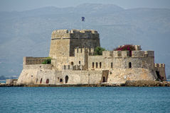 Castle prison. Bourtzi castle island in Nafplio, Greece royalty free stock photo