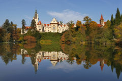 Castle Pruhonice. With reflection in the lake near Prague Stock Images
