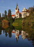 Castle Pruhonice. With reflection in the lake near Prague Royalty Free Stock Images