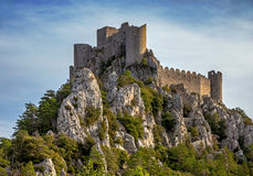 The castle Puilaurens. The castle Puylaurens of France stock photo
