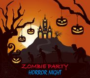 Castle, pumpkin, zombie halloween silhouette on dark Colored poster royalty free illustration